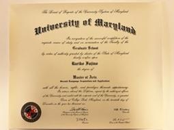 University of Maryland大学院修士号取得証書